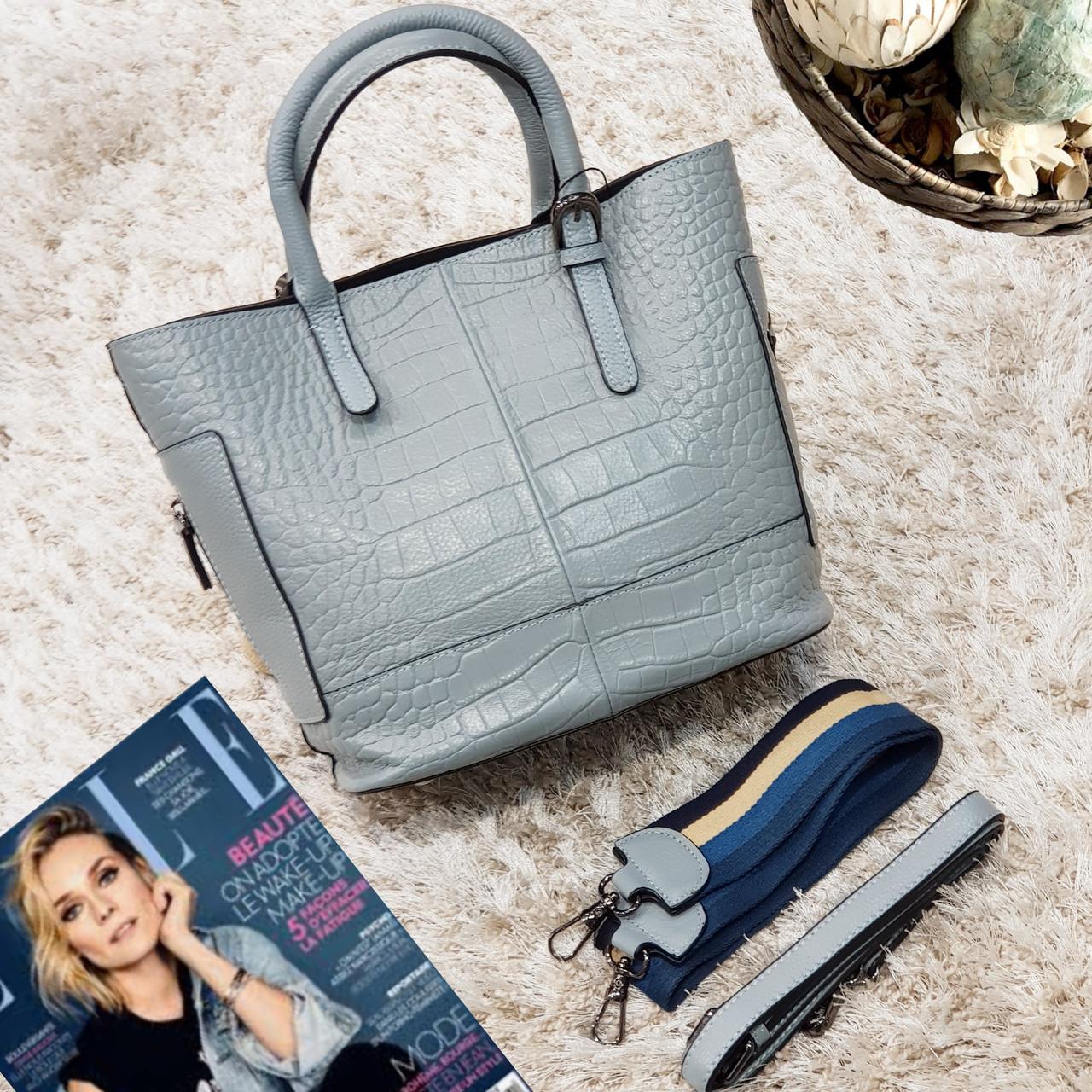 Женская голубая сумочка из натуральной кожи