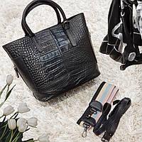 Женская черная сумочка из натуральной кожи, фото 1