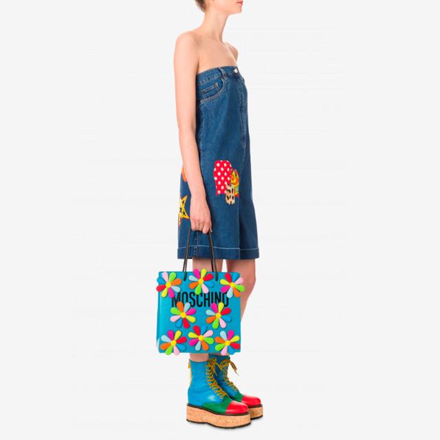Женская кожаная сумка-шоппер с цветами Moschino