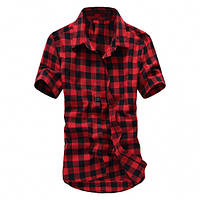 Летняя рубашка в клетку (Красный)
