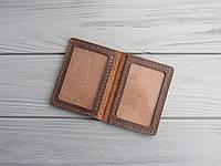 Обложка для водительских прав нового образца из натуральной  кожи, шоколад