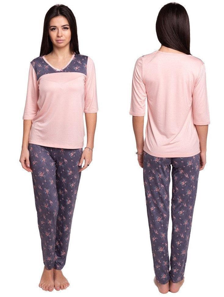Пижама женская с брюками вискозная домашняя одежда трикотажная, персиковая