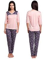 Пижама женская с брюками вискозная домашняя одеждатрикотажная, персиковая