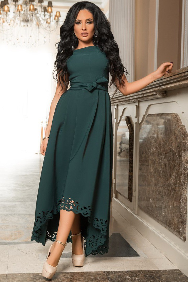 Изумрудное вечернее платье со шлейфом р. 44-52