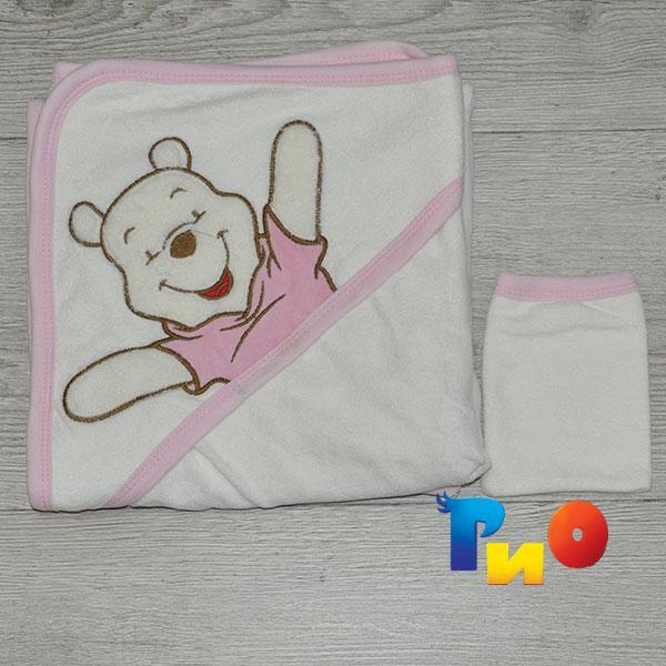 Полотенце с капюшоном для купания и варежка, махра, размер 90х90 см (мин заказ 1 ед)