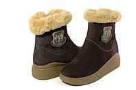 Ботинки женские модные с мехом натуральный нубук Passo Avanti (9325)