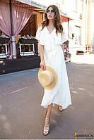 Длинное шифоновое платье с легкой пелериной