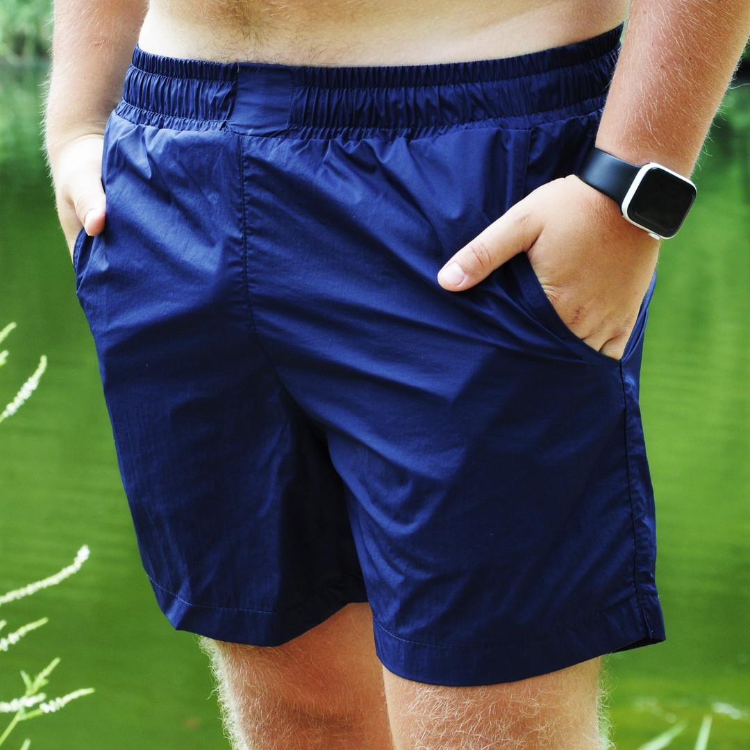 Мужские шорты пляжные Asos синие для купания плавания без рисунка быстросохнущие