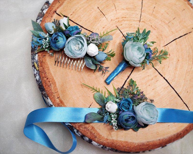 Весільний браслет+бутоньєрка+гребінь
