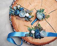 Весільний браслет+бутоньєрка+гребінь, фото 1