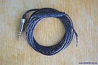 Аудио кабель для ремонта наушникoв с микрофоном, черный - 3.5 мм
