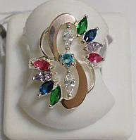 Серебряное кольцо с золотом и разноцветными цирконами Колорит, фото 1
