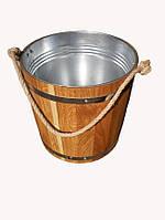 Ведро из дуба для бани с металлической вставкой (15 литров)