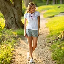 Біла футболка вишиванка Геометрія червона, фото 3