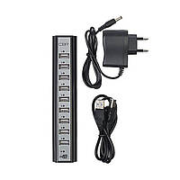 Разветлитель USB HUB 10 PORTS 220V, USB-хаб, Разветлитель с блоком питания, Юсб хаб активный 10 портов Подробн, фото 1