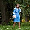 Жіноча сукня вишиванка блакитна з мереживом, фото 4