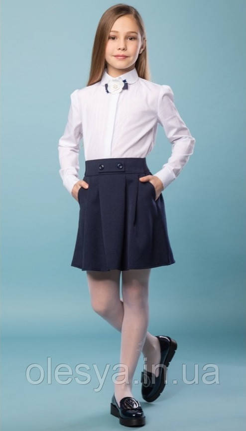 Юбка школьная на резинке Gretta Brilliant темно- синего цвета Размеры 116, 146 Хит продаж!