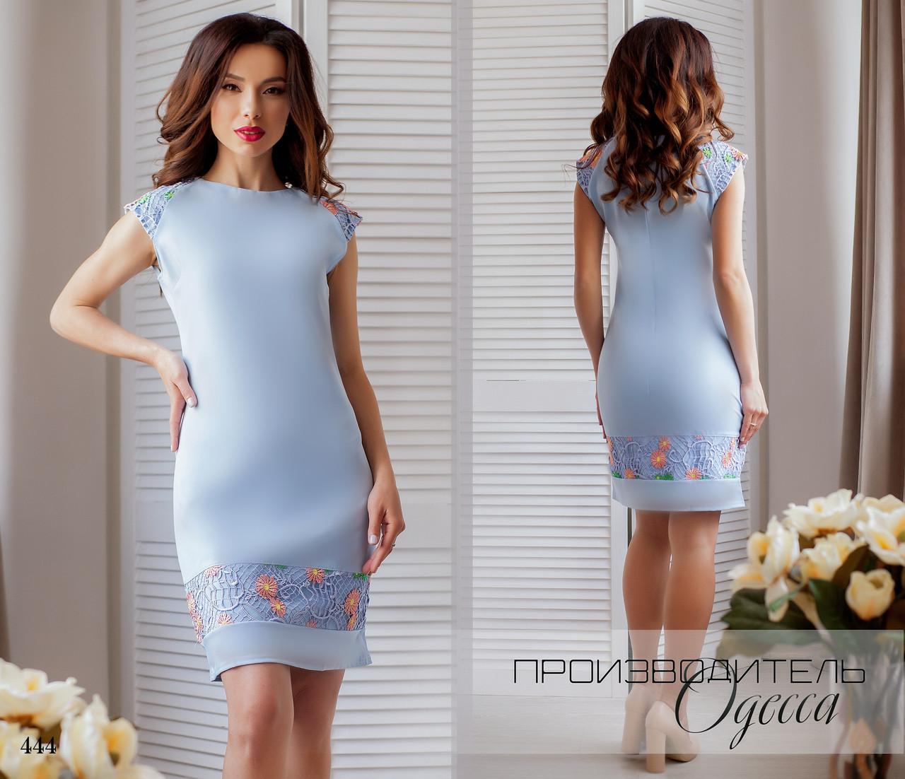 Платье футляр креп+макраме 42,44,46
