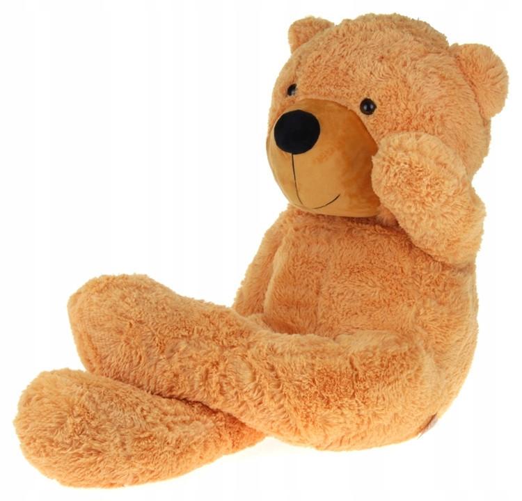 Большой плюшевый медведь 130 см персиковый