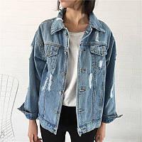 Джинсовка женская стильная потертая,джинсовая куртка , фото 1
