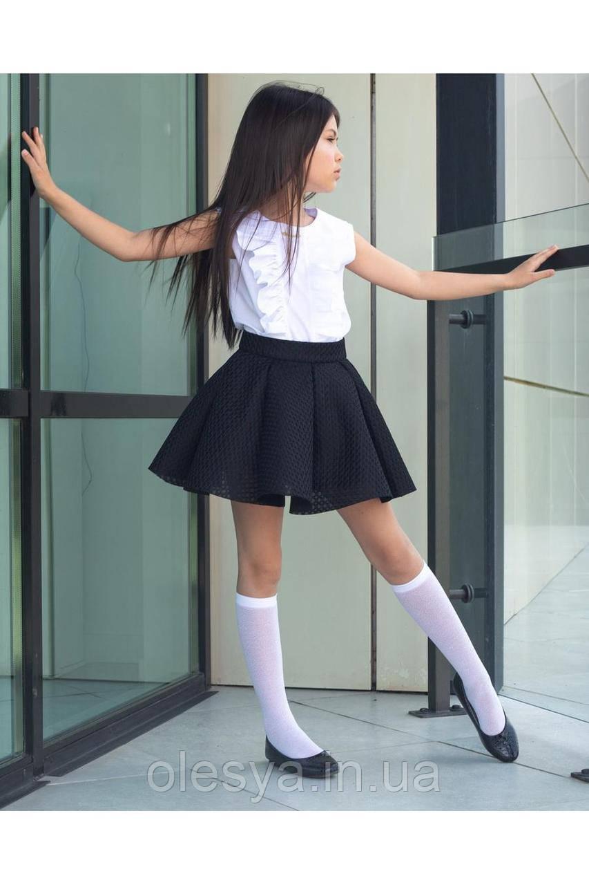 Практичная и нарядная школьная юбка- солнце Размер 122-152 черный цвет