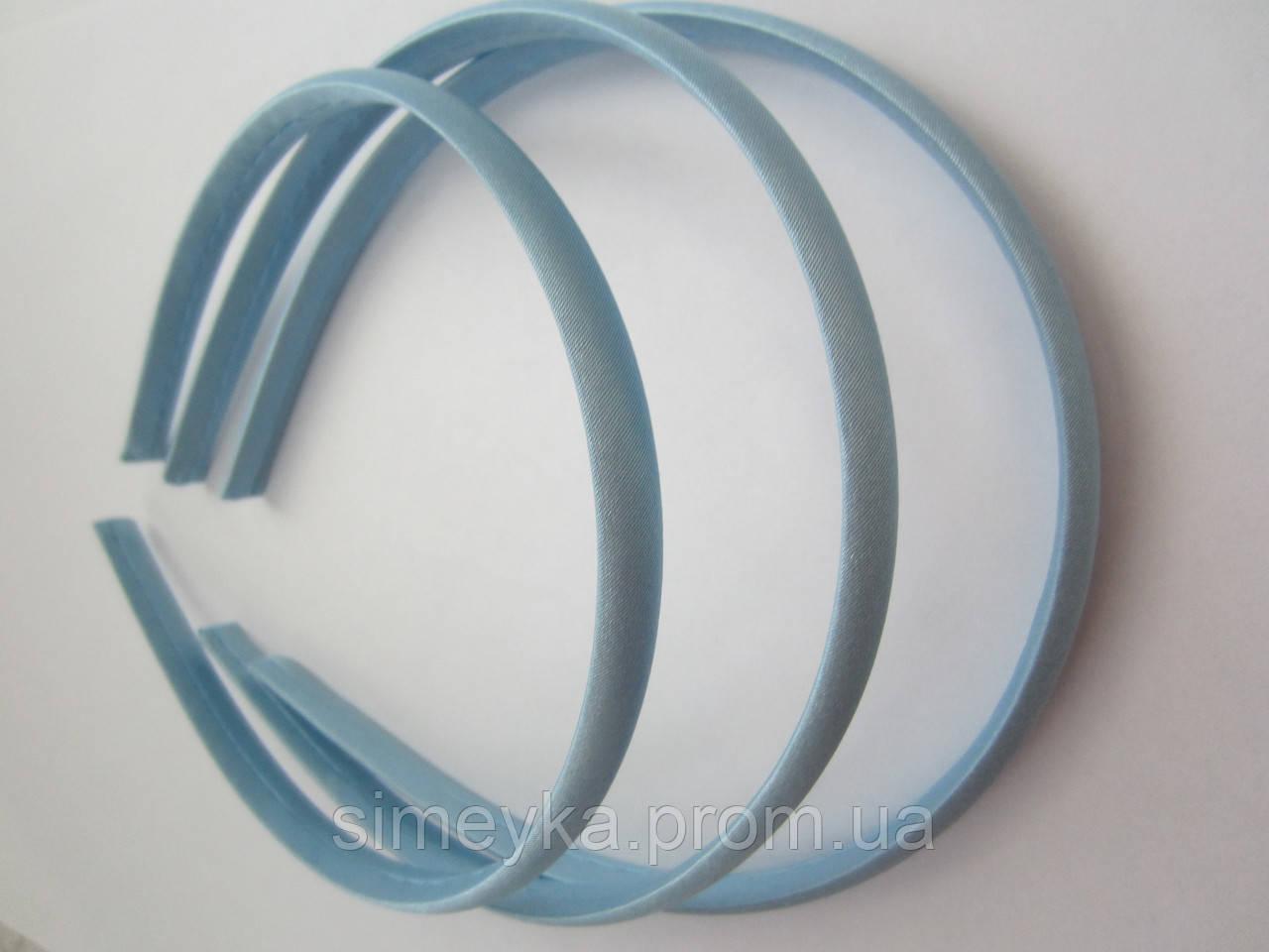 Обруч для волос пластиковый в атласе, 1 см. Голубой