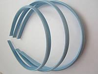 Обруч для волос пластиковый в атласе, 1 см. Голубой, фото 1