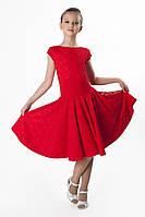 Платье рейтинговое (бейсик)  PR761603 Лодочка гипюр красный