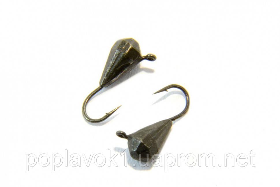 Мормышка Вольфрамовая Капля граненая с петелькой 4мм (черная)