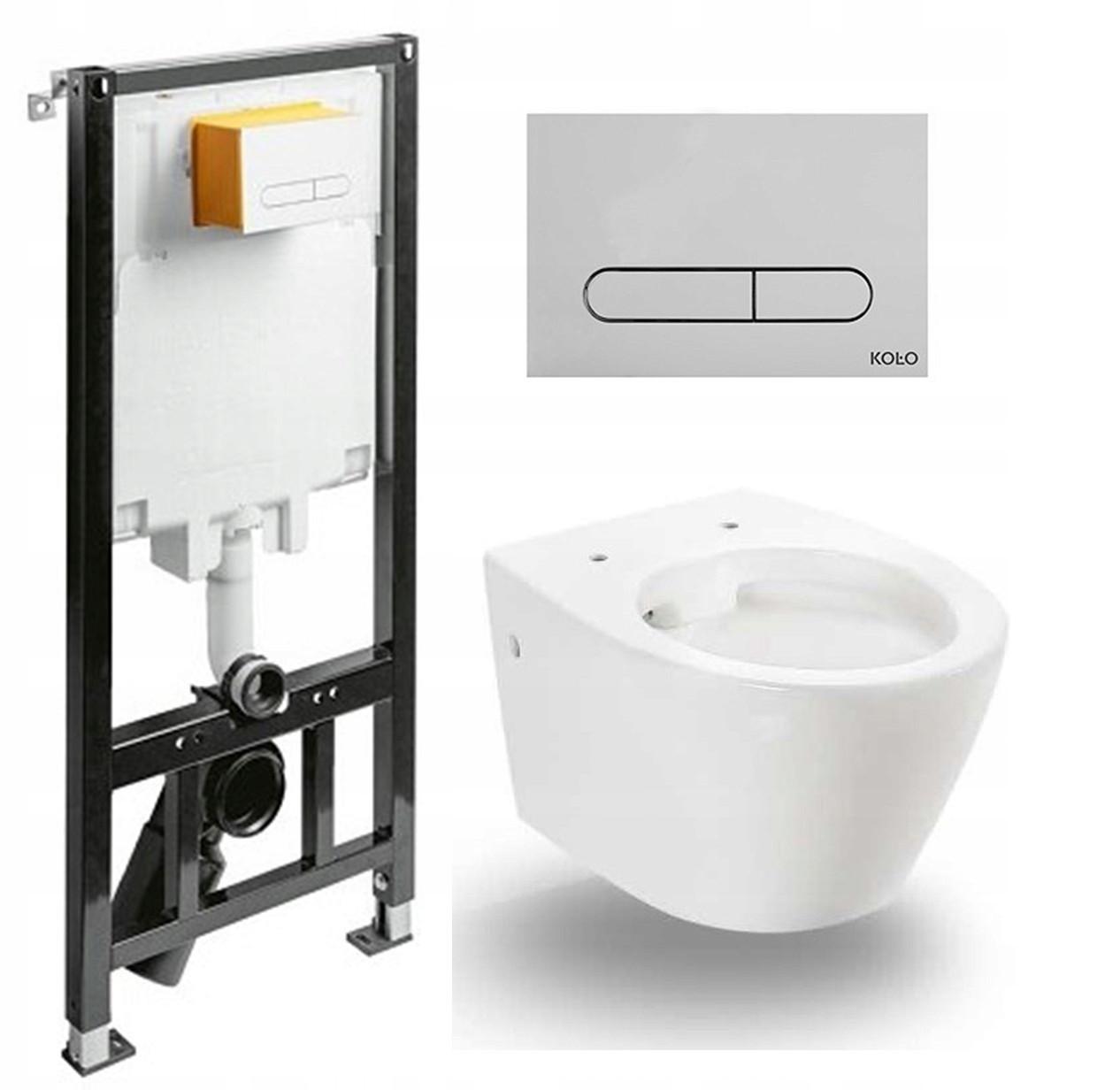 Туалетный каркас KOLO SLIM 2 + Раковина T038 + Кнопка
