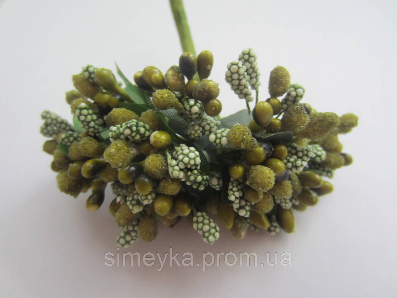 """Тычинки крупные, """"шишечки"""" оливкового цвета с зелёными листиками, букетик из 11 соцветий, длина 12 см"""