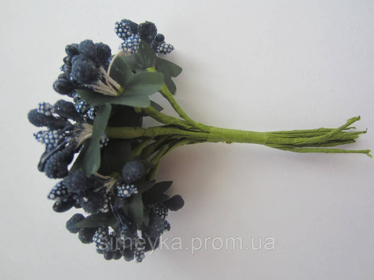 """Додаток к цветам """"рис"""" или """"шишечки"""" тёмно-синие с зелёными листиками, букетик из 11 соцветий, длина 12 см"""