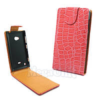Откидной чехол-флип для Nokia Lumia 720 Croco Розовый