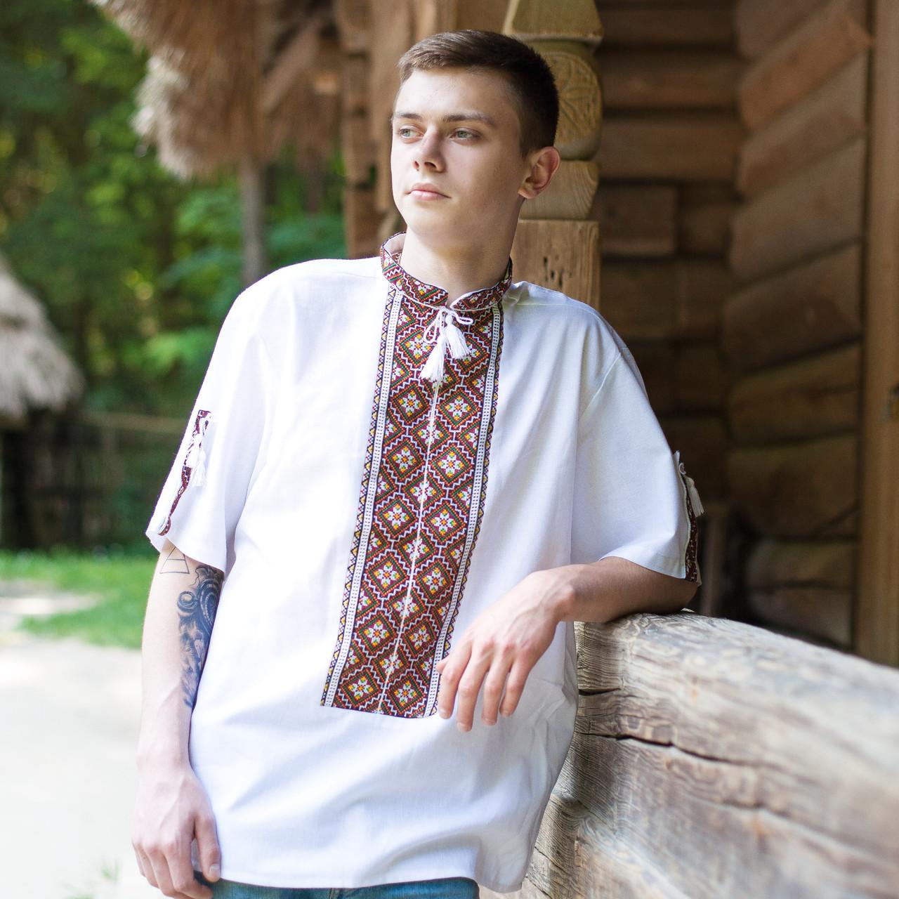 Вишита сорочка короткий рукав (домоткане полотно) 54cb03957436a