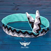Двусторонняя повязка для волос с принтом зигзаг, фото 1