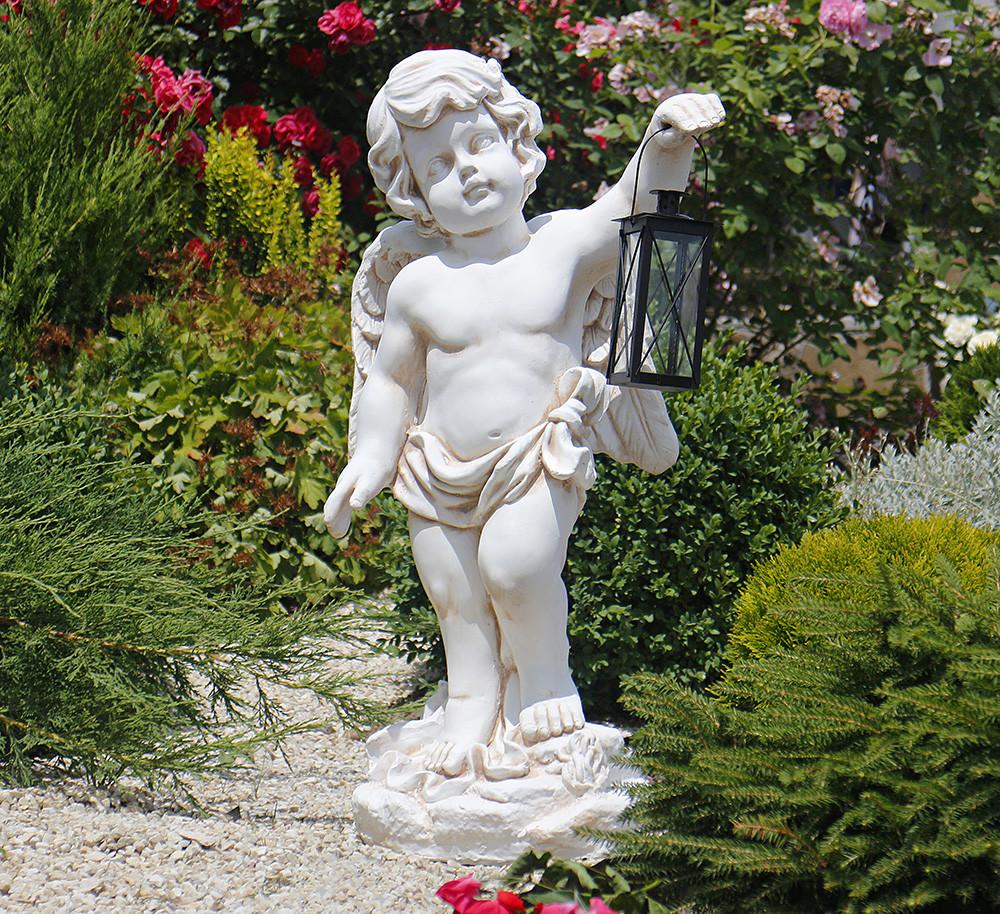 Садовая фигура Ангел с фонарем + LED 81х38х26 см Гранд Презент ССП12208 Крем