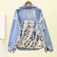 Женская джинсовая куртка с крупными серебристыми пайетками голубая, фото 1