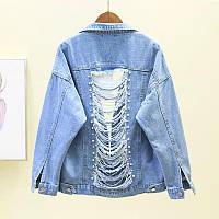 Женская джинсовая куртка рванка с пайетками и хрусталем голубая, фото 1