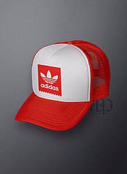 Спортивная кепка Adidas, Адидас, тракер, летняя кепка, унисекс, красного и белого цвета (копия)