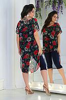 Костюм летний с шифоновой туникой, с 48-62 размер, фото 1