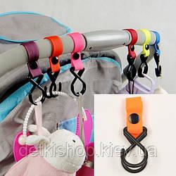 Гачки для коляски (пластик, помаранчеві)