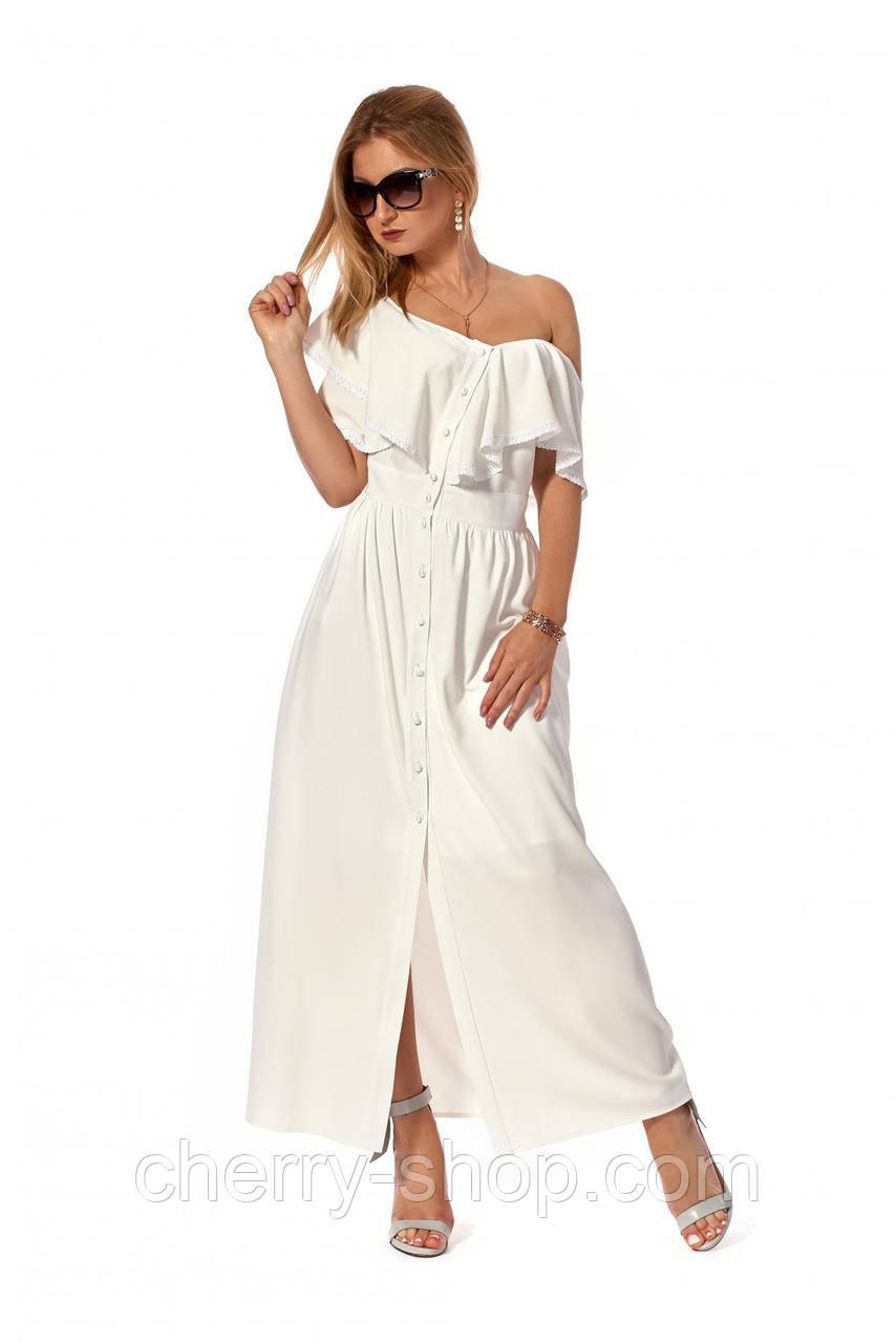 Длинное коктельное платье с сооблазнительными воланами
