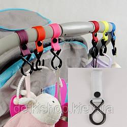 Гачки для коляски (пластик, сірий)
