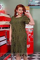 Большое нарядное платье Папоротник хаки, фото 1