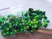 Микс бусин зеленых (набор 10 грамм)