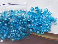 Микс бусин голубых  (набор 10 грамм)