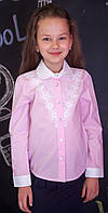Блузка рубашка Свит блуз  розовая мод.5073 р.128