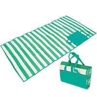 """Пляжный коврик-сумка складной """"Пальмы"""" 170х120 см (Зеленый)"""