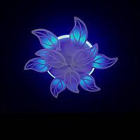 Светодиодная люстра с пультом-диммером и синей подсветкой белая 8028-6+3, фото 1