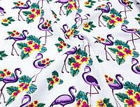 Муслин № 11495 принт ФЛАМИНГО - цвет фиолетовый